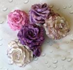 Розы бело-розово-сиренево-фиолетовые